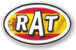 RAT Oval Funny Parody Design With Spain Spanish Flag Motif Vinyl Car sticker decal 120x77mm